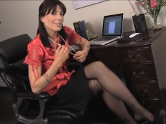 Cumming On Her Black Nylons In The Office