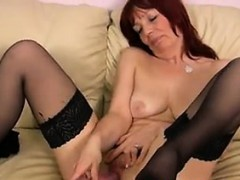 Red Haired Mother Masturbates In Stockings