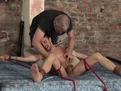 Tied and ticklish Izan gets a lubed handjob from Sebastian