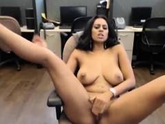 Stunning Dark Skinned Webcam Girl At Work