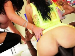 Threesome action with two brunettes Romi Rain and Nikki Benz