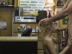 Short Haired Blonde Banged On Desk In Pawn Shop Office