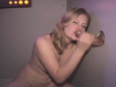 Hot Blonde Fucked And Taking Facial Through Glory Hole