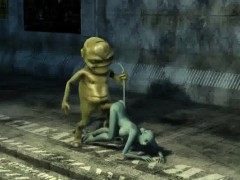 3D cartoon cat babe getting fucked hard by an alien