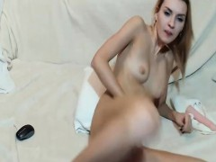 Hot Blonde Daughter Small Tits on Webcam
