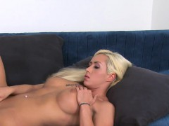 Stunning busty blonde gets sex casting