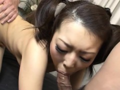 Asian hottie gives cowgirl riding during explicit gang bang