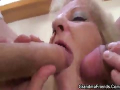 Granny slut threesome
