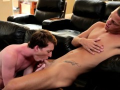 Finelooking tattooed twink rides stiff cock