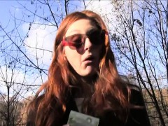 Redhead gal got facial outdoor