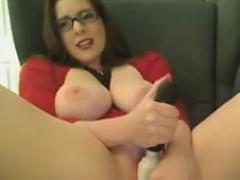 Big breasted cougar in heat Amber makes herself cum hard wi