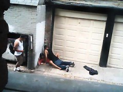 Horny street hooker gives it up to a hung stallion in publi