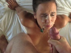 Ejaculating a huge load on her cute face