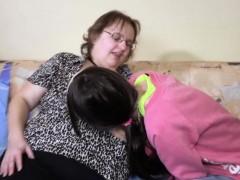 Chubby nanny loves teen pussy fun