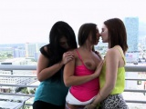 Kissing lesbians start hot 3way fun