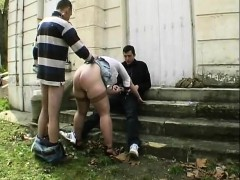 Sylvie fucked by visitors in a road