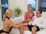 Blonde MILF and teen fucked with nerdy stepson