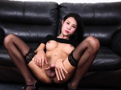 Stunning busty ladyboy strips and jerks solo