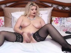 Busty Tranny Babe Jerking Off Her Hard Cock