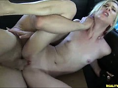 Blond fucked in back of a truck