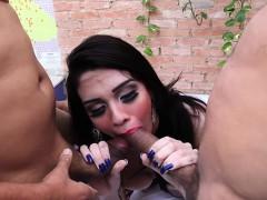 Big Tits Shemale Getting Her Asshole Barebacked In Gangbang