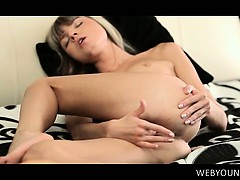 Slim fragile young siren fingering her tight fuck hole in