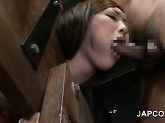 Pussy smashed asian sex slave choking on hard cock in 3some