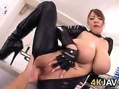Busty Japanese Slut In Latex