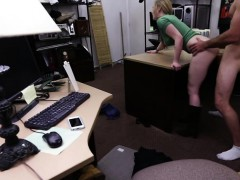 Attractive blonde woman gets hammered by Shawn in his office