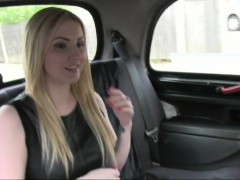 Busty blonde gets big cock in a cab