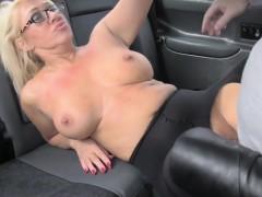 Blonde in pantyhose banged in fake taxi