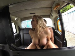 Busty female taxi driver pounded outdoors