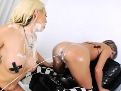 Flirty lesbos fill up their massive asses with milk and squi