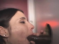 Brunette Interracial Facial After Blowjob At Glory Hole