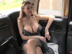 Massive tits amateur blonde passenger fucked in the cab