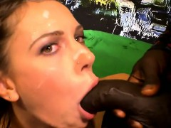 Chick riding white dick and sucking black dick