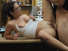 Woman with glasses railed by pawn dude in the backroom