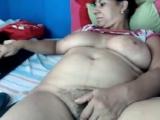 Mom Yasmine 46 playing on home webcam