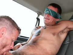 Blindfolded hunk acquires blowjob from guy