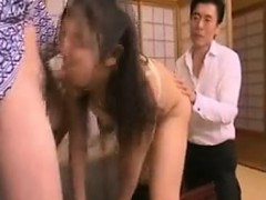 Buxom Japanese wife takes a dick in her mouth and a dildo i