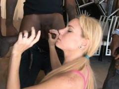 Blond babe all her holes screwed hard by black boners