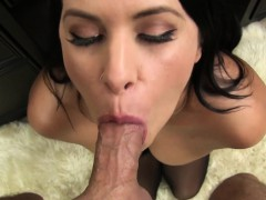 Young Lacie James seduces friend with her giant tits and