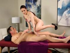 Tight masseuse Anna Deville pounded hard on massage table