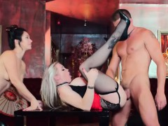 Busty blonde in heels and her geisha friend threesome