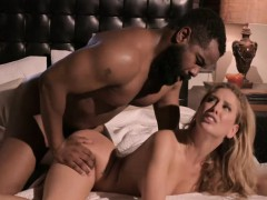 Wild blonde chick bounces on big black cock like a boss