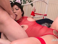 Slutty brunette asian double fingered and deep throated