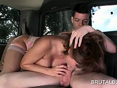 Slutty mature amateur eating and jumping shaft in the bus