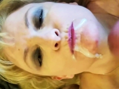 Blonde cougar makes a guy cum on her face
