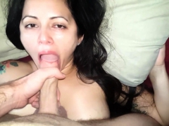 Real amateur big tit milf giving a blowjob