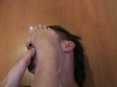 Mistresse Crushes Lover With Her Feet And Gets Them Sucked